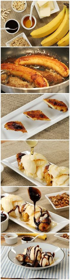 Brown Butter Banana Dessert is bananas fried in a brown sugar-butter mixture to a chewy and slightly crisp atop of the bananas and impossibly tender and silky insides, then served with ice cream and chocolate sauce. If you go crazy over bananas you must try this tasty banana dessert!