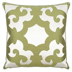 "This is a pattern that is appliqued to a white background. 24"" square pillow. I can knock this off with my Silhouette cutter. ZGallerie $69.95"