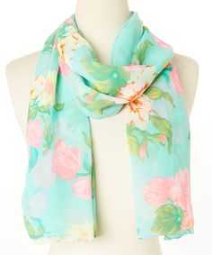 This Aqua Floral Scarf by Jeanne Simmons Accessories is perfect! #zulilyfinds