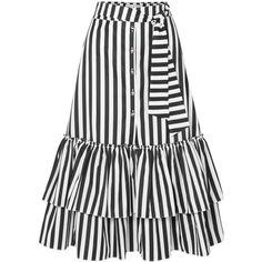 Caroline Constas Ruffled striped cotton-poplin midi skirt found on Polyvore featuring skirts, black, flounce skirt, white skirt, calf length skirts, frilled skirt and striped midi skirt