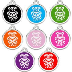 CNATTAGS Stainless Steel with Enamel Pet ID Tags Designers Round Dog ** Read more at the image link. (This is an Amazon affiliate link)