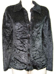 Real Clothes Saks Fifth Avenue M / Medium Black #Furry Fuzzy Button Up #Sweater Jacket #SaksFifthAvenue