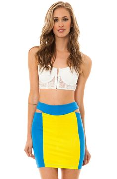 MKL Collective Skirt Flounder in Yellow and Blue - Karmaloop.com
