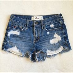 High Waisted Destroyed Hollister Shorts Like brand new! They've just been sitting in the back of my closet. Size 0 Hollister Shorts Jean Shorts