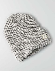 AEO Turn-Up Beanie, Grey | American Eagle Outfitters