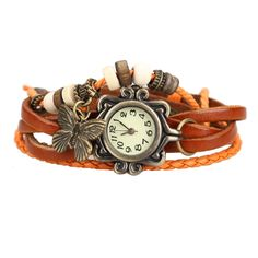 Vintage Leather Bracelet Butterfly Watch — The Gift Grabber Trendy Watches, Retro Watches, Vintage Watches, Antique Bracelets, Vintage Bracelet, Women's Dress Watches, Wrap Watches, Ladies Bracelet Watch, Vintage Leather
