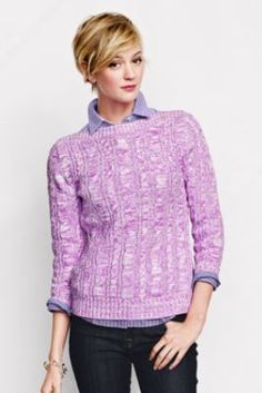 Women's 3/4-sleeve Marl Cable Button Boatneck Drifter Sweater from Lands' End