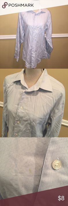 Pronto Uomo button down shirt SIZE 15 1/2 Non iron fitted light blue button down. Size 15 1/2.  There is a very small stain. Refer to photo ➡️Price is firm pronto uomo Shirts Casual Button Down Shirts