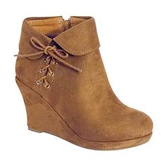 TOP MODA Tan Odell Wedge Bootie ($16) ❤ liked on Polyvore featuring shoes, boots, ankle booties, ankle boots, lace up wedge ankle booties, tan lace up booties, wedge bootie, lace-up wedge booties and wedge ankle boots