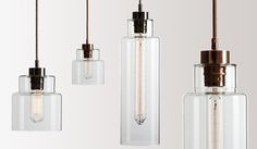These clear cylindrical lights draw focus on their elegant metal finishes with braided metal flex and Copper or Zinc metal fittings. From £375.00 RRP