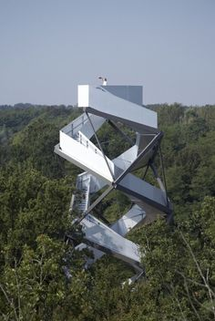 On the Mur River in Austria, terrain: loenhart & mayr designed this wild observation tower