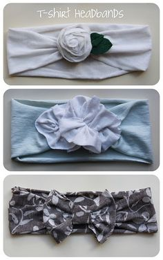 t-shirt headbands.Have lots of old T-shirts in that donate pile from spring cleaning? This is a great way to use those old shirts! Just cut a strip to the desired width, create the flower/bow, and then sew/hot glue together. Do It Yourself Mode, Do It Yourself Fashion, Couture Bb, Barrettes, Hairbows, Diy Accessoires, Diy Headband, Baby Headbands, Fashion Headbands