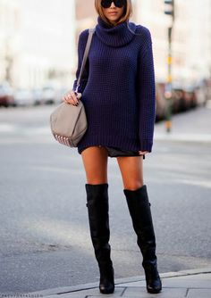 over the knee<3 with a #sweater