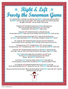 Right & Left Frosty the Snowman Game. This would be cute to use for a small gift game