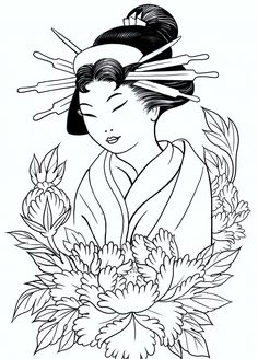 Geisha Kimono Coloring Pages - Bing Images Coloring Pages For Girls, Colouring Pages, Coloring Books, Japanese Drawings, Japanese Art, Japanese Geisha, Oriental People, Asian Quilts, Spiritual Paintings