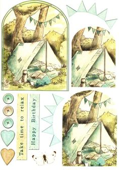 Debbi Moore Designs - Summer Retreat card toppers #11 camping, tent