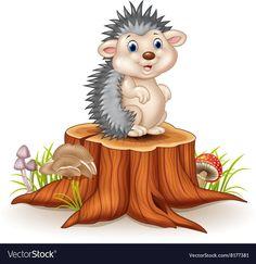 Baby Hedgehog, Clay Teapots, Simple Pictures, Kawaii, Tree Stump, Adobe Illustrator, Cute Babies, Vector Free, Disney Characters