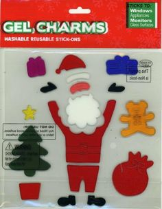 "Santa Claus Gifts & Christmas Tree Gel Window Clings by Nantucket Home. $3.49. Reusable. Repositionable. Clings are on an 8"" x 8"" sheet. Washable. Sticks to windows, appliances, monitors and other glass surfaces. Gel Window Clings."