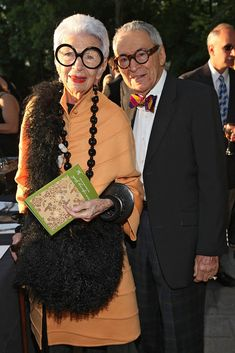 """Carl Apfel, a Textile Veteran and Husband to Iris Apfel, Dies at 100 - Carl and Iris Apfel in """"Iris,"""" the 2014 film directed by Albert Maysles. - The New York Times"""