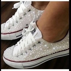 Wedding Converse Sneakers featuring Faux Pearls, Converse Wedding Sneakers with Pearls, Pearl Wedding Shoes, Pearl Sneakers, Wedding Shoes - Fashion Shoes Ideen Wedding Sneakers, Wedding Converse, Wedding Tennis Shoes, Bling Wedding Shoes, Gold Wedding, Wedding Table, Wedding Jewelry, Rustic Wedding, Dream Wedding