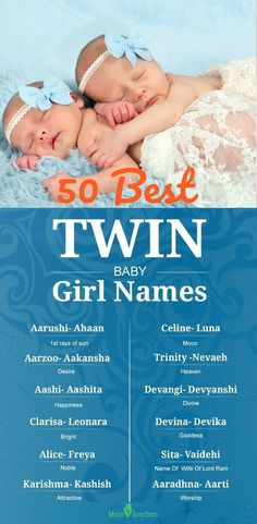 50 Best With Meanings : The nine months preceding the arrival of your double bonanza (twin girls) are full of festivities and blessings. Many important tasks will now have to be accomplished- the most important one being the name selection for your twins. Twin Baby Girl Names, Baby Names 2018, Baby Girl Names Spanish, Twin Names, Twin Girls, Boy Names, List Of Girls Names, Girl Names With Meaning, Baby Names And Meanings