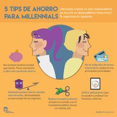 5 TIPS DE AHORRO PARA MILLENIALS. Infografía de Distrito Emprendedor.