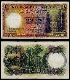 1950 Egypt 10 Pounds Banknote Pick Number 23c Signature Leith-Ross Beautiful Fine or Much Better Currency