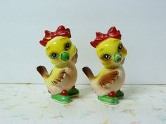 1950s Chick Salt and Pepper Shakers kitsch