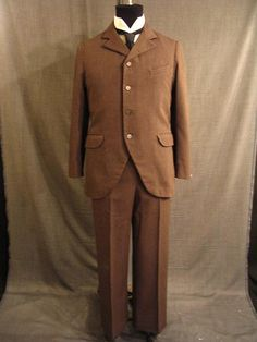 19th century men's clothing - Sack Suit late 19th C, 2pc brown, black stripe