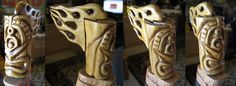 V-8 themed Tiki with flame hair, another ornament for my Hot Rod flame walking stick. Have cast this in several colors of resin and have it as a shift knob (without flames) in my Trans Am.