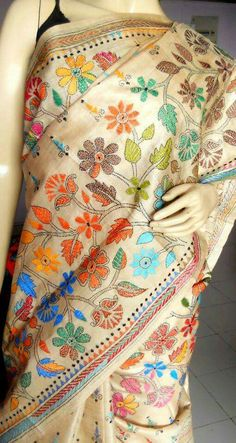 Kantha embroidery on saree