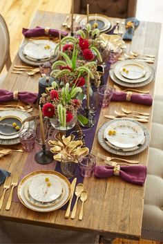 This Thanksgiving go glam! Metallics, plum and crimson is a sophisticated and unexpected tabletop combination. Mix and match your way to your perfect palette in stores.