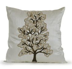 This lovely white throw pillow cover with gray, beige and white beading exudes luxury and sophisticated style. Layer this handcrafted decorative pillow on your duvet cover to create an inviting bed. T