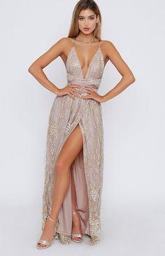 2019 V neck Prom Dress ,long prom dress with slit - Prom Dresses V Neck Prom Dresses, Grad Dresses, Dance Dresses, Ball Dresses, Homecoming Dresses, Evening Dresses, Dress Prom, Neutral Prom Dresses, Casual Dresses