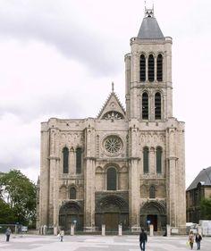 Romanesque and Gothic Church of Saint-Denis, near Paris   http://architecture.about.com/od/greatbuildings/ig/Sacred-Buildings/Basilique-St-Denis.htm#step-heading