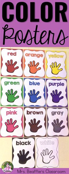 Use these colorful posters to dress up your classroom and teach your students to recognize colors! The perfect decor for a primary classroom, these include color posters with both US and Canadian/UK spelling. #colorposters #classroomdecor #earlylearning