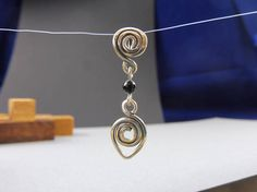 Silver Spiral Pendant with Onyx Beads  Sorceress'