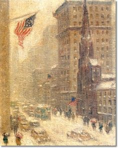 Guy Wiggins - New York City Fifth Avenue at 55th in Winter Painting