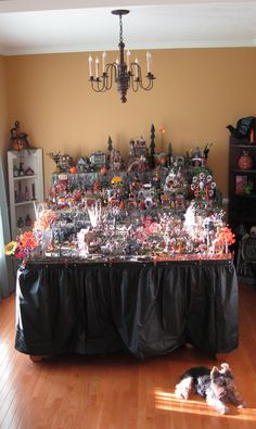 Lemax and Dept. 56 Halloween Village Lemax and Dept. Halloween Diorama, Halloween Train, Halloween Village Display, Lego Halloween, Halloween Miniatures, Halloween House, Holidays Halloween, Halloween Ideas, Halloween Decorations