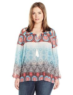 Single Dress Womens Plus Size Long Sleeve Peasant Blouse AquaMulti 3X ** Find out more about the great product at the image link.
