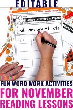 Are you looking for a way to keep your kindergarten students engaged while learning new words? November can be a tricky month to keep your students' attention. However, these November word work activities will allow your kindergarten students to learn knew words, while having fun! These are completely editable, allowing you to choose which words your kindergarten students need to work on. Grab it today! Phonics Rules, Teaching Phonics, Teaching Reading, Learning, Sight Word Flashcards, Sight Word Worksheets, Sight Words List, Sight Word Practice, Sight Word Activities