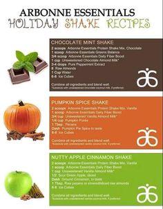 Arbonne Holiday Shake Pumpkin Spice Chocolate Mint Apple Cinnamon