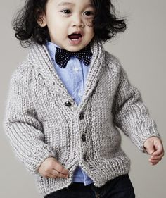 Free Knitting Pattern for Baby and Child Cardigan with Shawl Collar