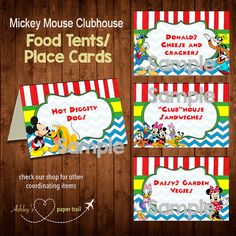 MICKEY MOUSE CLUBHOUSE Food Tents and/or by AshleysPaperTrail