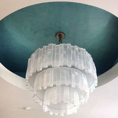 Turquoise Aqua Venetian Plaster Ceiling | Project by Garrison Tarnow Painting with Modern Masters products | Ceiling Inspiration on the Cafe Blog