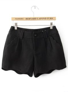 Black Button Fly Ruffles Pockets Shorts
