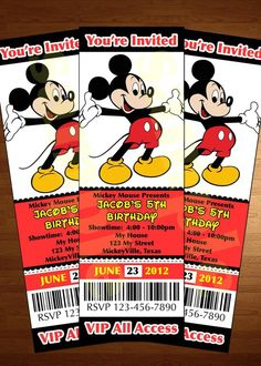 Mickey Mouse ticket invitation printable diy invite RED  | followpics.co