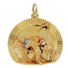 Enamel Gold Jockey Pendant / Charm