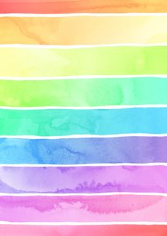 Watercolor Rainbow Stripes in Ombre Summer Pastels Art Print