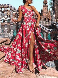 Bohemia Floral One-Shoulder Split Maxi Dress